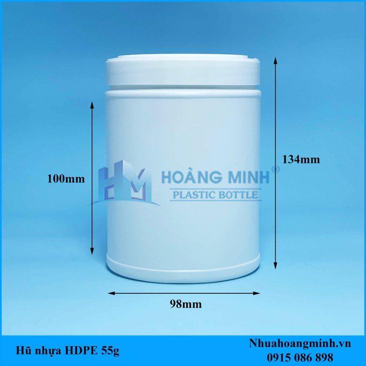 Hũ Nhựa HDPE 500gram dáng thấp