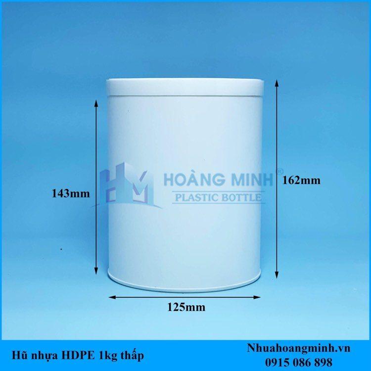 Hũ Nhựa HDPE 1kg – Dáng lùn