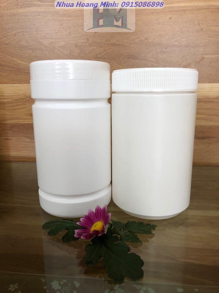 Hũ nhựa hdpe 500g – hũ 2 ngấn, hũ trơn