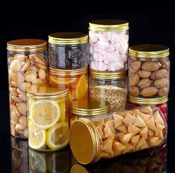 Hũ nhựa nắp nhôm vàng đựng bánh kẹo