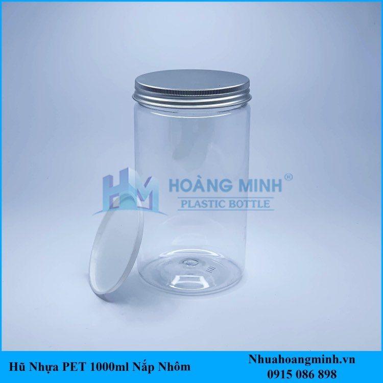 Hũ nhựa PET 1000ml nắp nhôm trắng