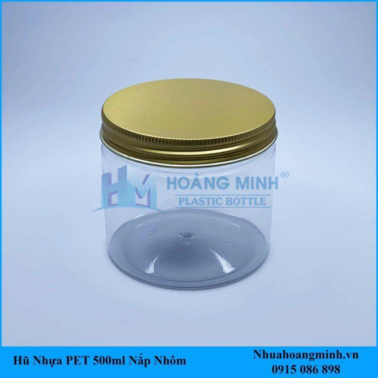 Hũ nhựa PET 500ml nắp nhôm vàng